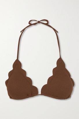 Marysia Swim Broadway Scalloped Stretch-crepe Triangle Bikini Top - Brown