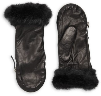 Carolina Amato Faux Fur Trim Leather Mittens