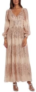 R & M Richards Balloon-Sleeve Gown