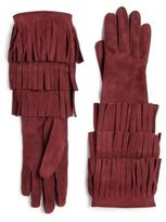 Burberry Prorsum Maureen Fringed Suede Gloves