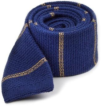Tie Bar Knitted Hem Stripe Classic Blue Tie