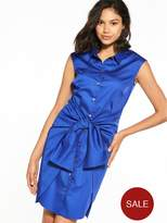 Closet Tie Waist Shirt Dress - Blue