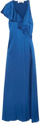 Diane von Furstenberg Ruffled Satin Wrap Maxi Dress