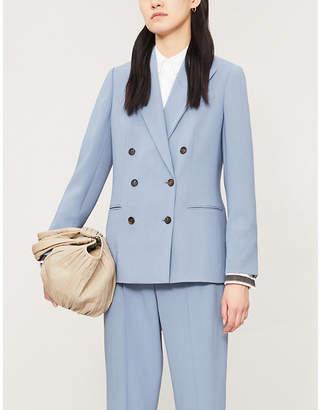 Brunello Cucinelli Double-breasted padded-shoulder wool-blend blazer