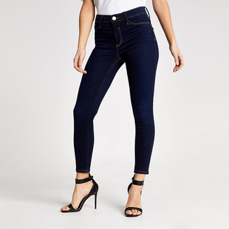 River Island Petite dark blue Molly mid rise jeggings