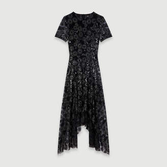 Maje Long sequin-embroidered tulle dress