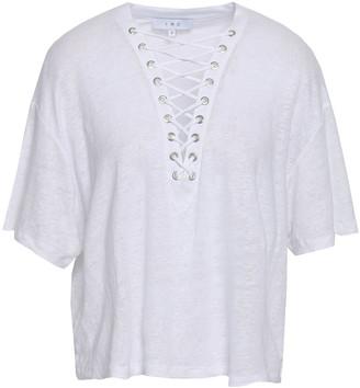 IRO Kerlaz Lace-up Slub Linen-jersey T-shirt