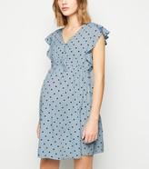 New Look Maternity Spot Frill Sleeve Mini Dress