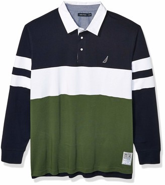 Nautica Men's Big Long Sleeve 100% Cotton Rugby Stripe Jersey Polo Shirt