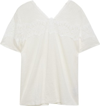 Sandro Guipure Lace-trimmed Linen-jersey T-shirt