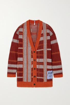 McQ Appliqued Checked Linen-blend Cardigan - Orange