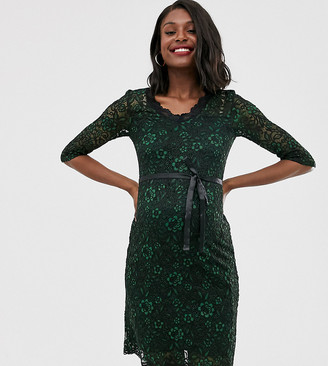 Mama Licious Mamalicious maternity lace bodycon dress in green
