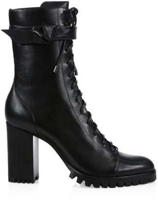 Alexandre Birman Evelyn Block-Heel Leather Combat Boots