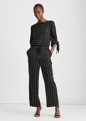 Ralph Lauren Cold-Shoulder Twill Jumpsuit
