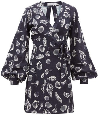The Upside Lila Shell-print Wrap Dress - Womens - Navy Print