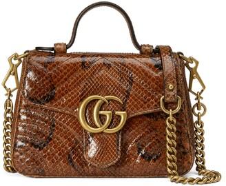 Gucci GG Marmont mini python top handle bag