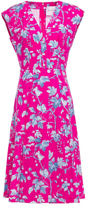 Carolina Herrera Pleated Floral-print Stretch-cotton Poplin Dress