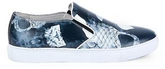 Robert Graham Chiron Printed Leather Slip-On Sneakers