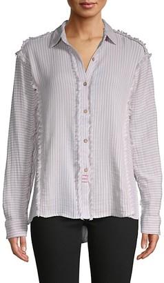 Vintage Havana Lace-Yoke Frayed Shirt