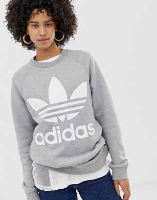 adidas oversized trefoil sweater in grey