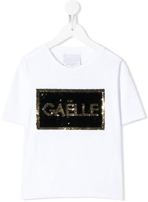 Gaelle Paris Kids sequin logo T-shirt