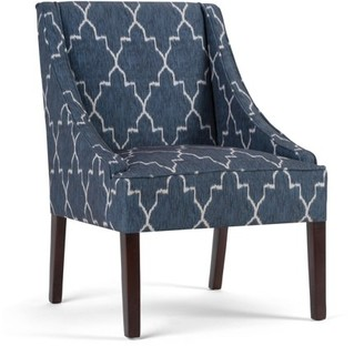 Brooklyn + Max Florence 25 inch Wide Transitional Accent Armchair in Cobalt Blue Moroccan Patterned Fabric, Fully Assembled