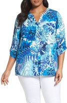 Foxcroft Plus Size Women's Tropical Blues Roll Sleeve Top