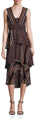 A.L.C. Hayley Scarf-Print Tiered Dress