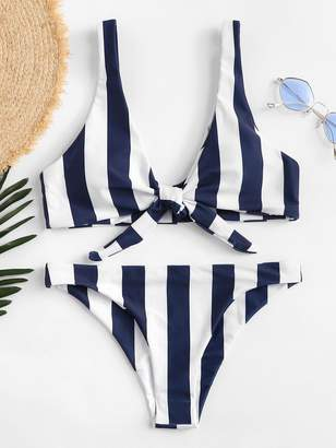 Shein Knot Front Striped Top With High Leg Bikini