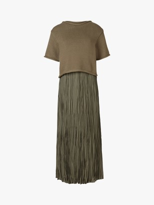 AllSaints Laze 2-in-1 Crinkle Slip Dress, Utility Green