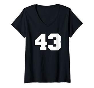 Womens Number 43 Sports Jersey Player Fan FRONT Print Varsity V-Neck T-Shirt