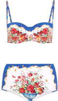 Dolce & Gabbana Printed Bandeau Bikini - Blue