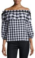 Parker Jenay Gingham Off-the-Shoulder Blouse, Black/White