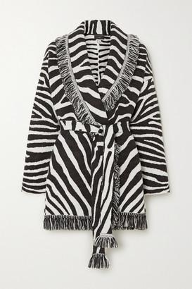 Alanui Lapponia Belted Fringed Zebra-jacquard Wool Cardigan - Black
