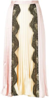 Self-Portrait Lace Panel Pleated Maxi Skirt