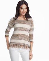 White House Black Market Stripe Fringe Pullover Sweater