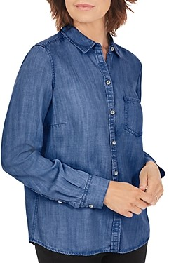 Foxcroft Button Front Denim Shirt