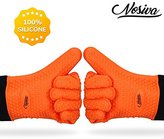 Silicone Oven Mitts - Heat Resistant (Up to 446°F) Kitchen Gloves with Quilted Cotton Lining, NOSIVA Non-slip Gloves for Cooking, Baking, Grilling