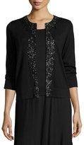 Magaschoni 3/4-Sleeve Embellished Silk/Cashmere Cardigan, Black