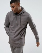 Criminal Damage Slate Tracksuit Hoodie With Curved Hem And Concealed Side Zips