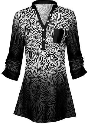 Lily Women's Tunics BLK - Black & Gray Zebra Chest-Pocket Button-Front Tunic - Women & Plus