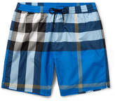 Burberry Mid-length Checked Swim Shorts - Blue