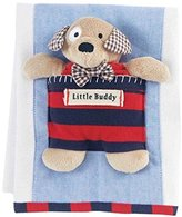 Mud Pie Burp Cloth with Puppy Rattle, Red by