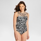 Dreamsuit by Miracle Brands Women's Slimming Control Strappy Caged High Neck One Piece Swimsuit - Black/White - Dreamsuit® by Miracle Brands
