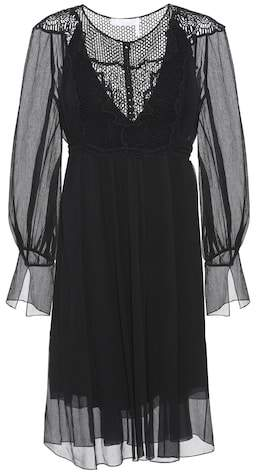 Chloé Lace-panelled silk dress