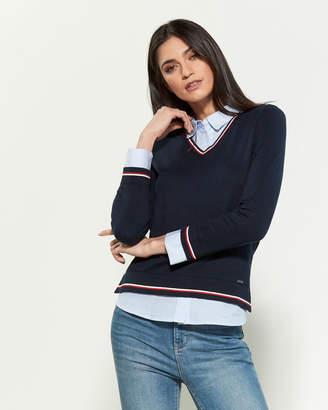 Tommy Hilfiger Layer Stripe Varsity Long Sleeve Sweater