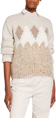 Brunello Cucinelli Fair Isle Sequined Wool-Cashmere Sweater