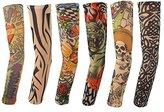 6pcs Temporary Tattoo Sleeves, Hmxpls Body Art Arm Stockings Slip Accessories Fake Temporary Tattoo Sleeves, Tiger, Crown Heart, Skull, Tribal Shape