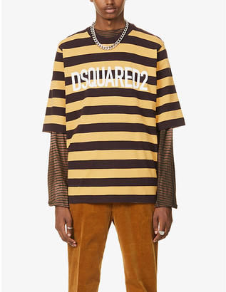 DSQUARED2 Logo-print striped oversized cotton-jersey T-shirt