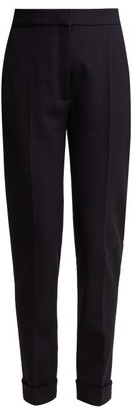 Stella McCartney Turn-up Cuff Straight-leg Wool-blend Trousers - Womens - Navy
